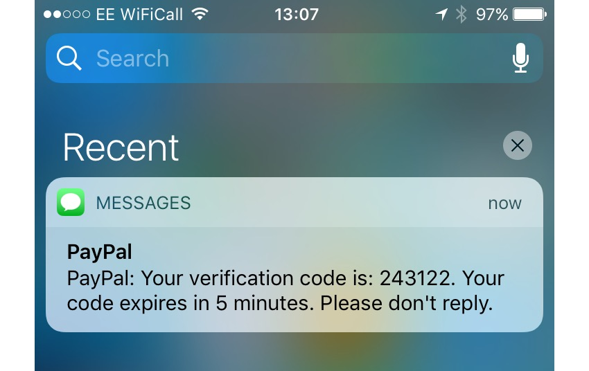 Receiving a text from PayPal