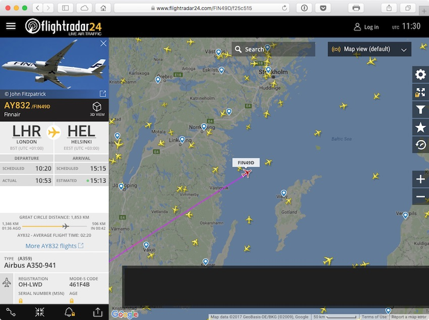 Flightradar24 real-time aircraft tracker