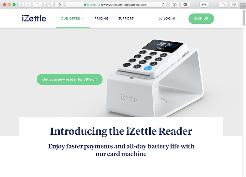 The iZettle Reader takes card and contactless payments in secondswherever and whenever