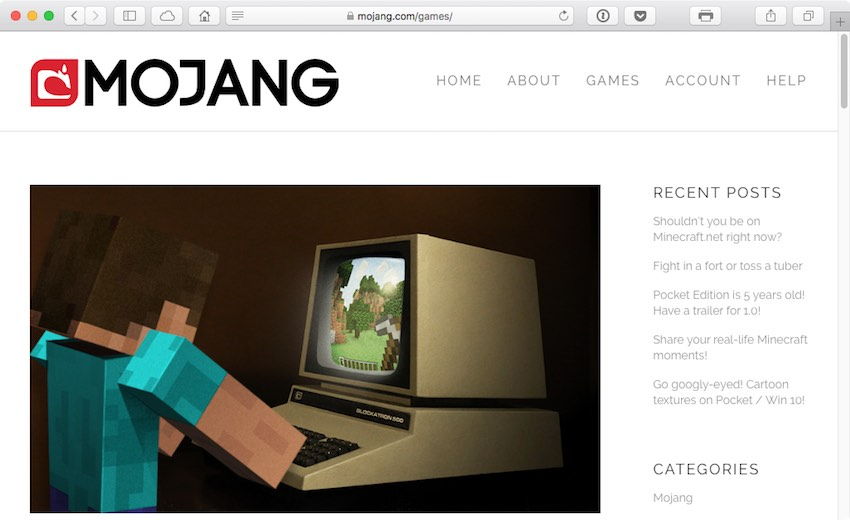 Mojang AB is a games studio based in Stockholm Sweden