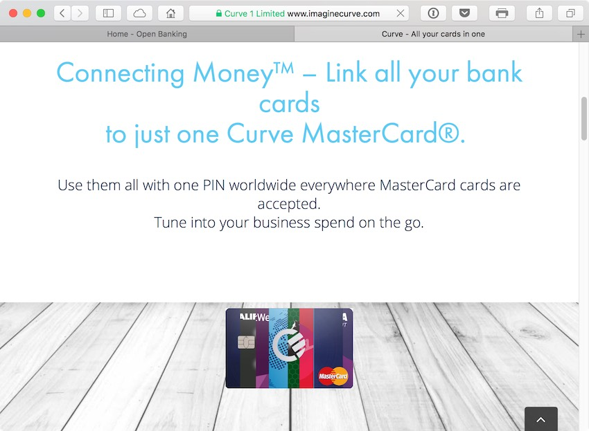Curve is a MasterCard that aggregates most debit and credit cards into one card