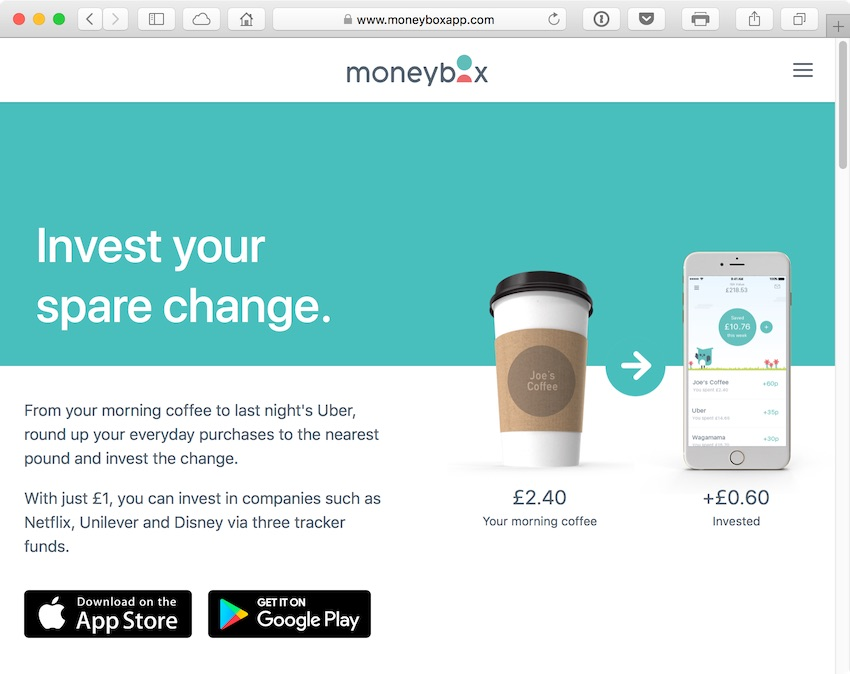 MoneyBox lets you invest easily in stocks and shares by saving the change