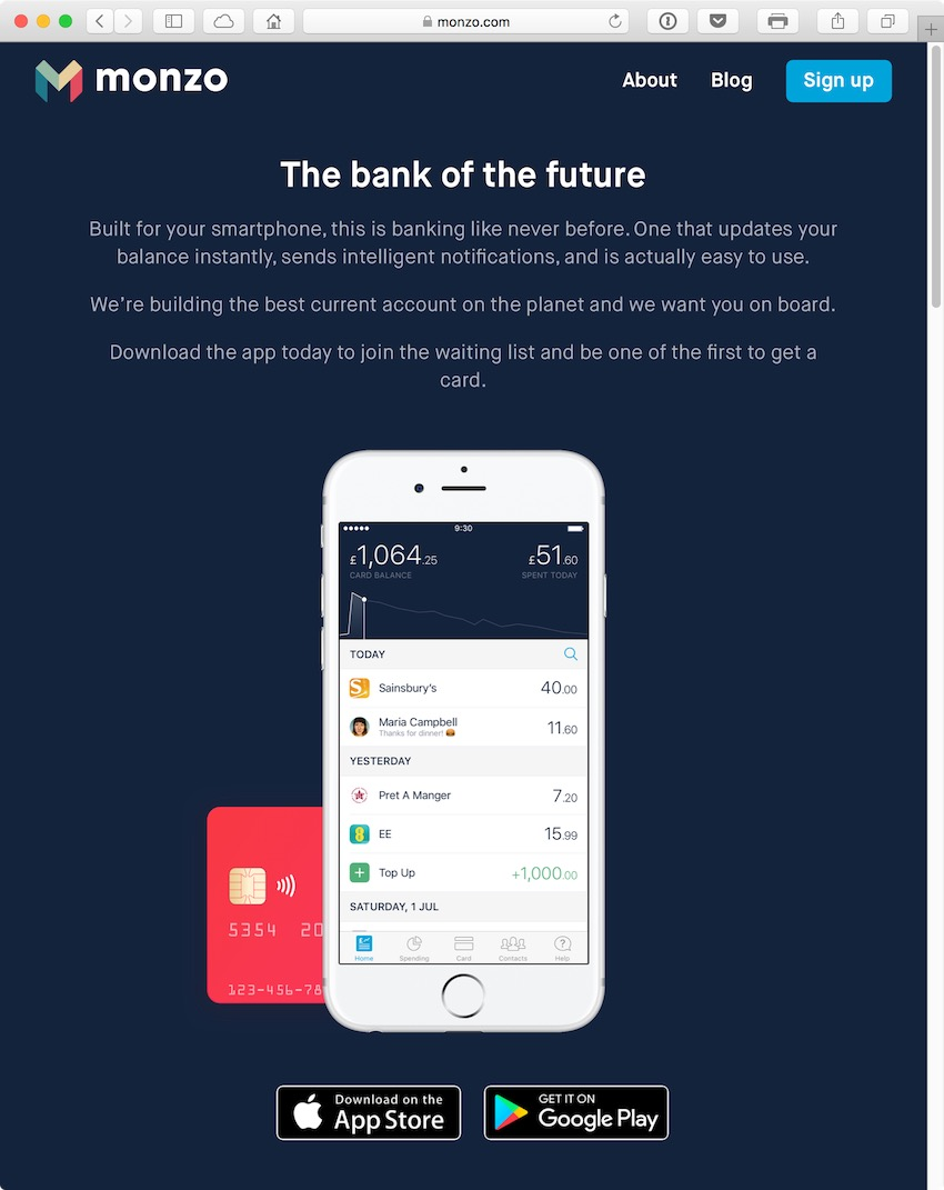 Monzo has an ambitious aim to be a financial hub for a billion customers