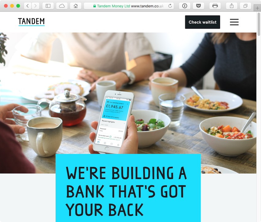 Tandem plans to offer a app-based full-service retail bank