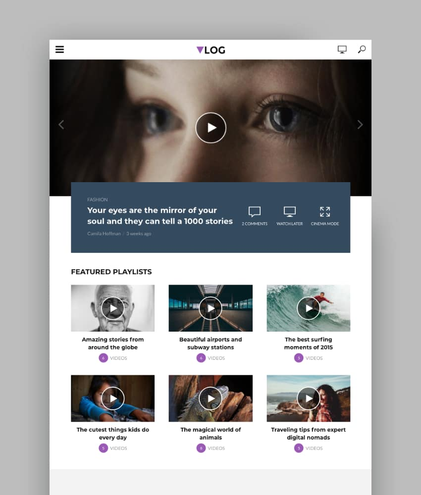 Vlog - Video Blog  Podcast WordPress Theme