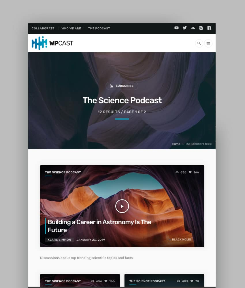 Wpcast - Audio Podcast WordPress Theme