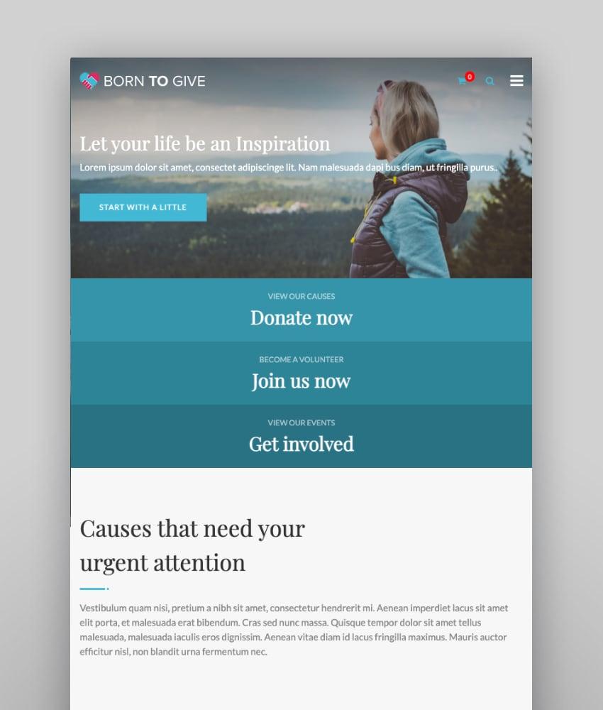 Born To Give—Charity Crowdfunding Responsive WordPress Theme