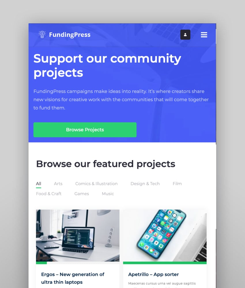 Fundingpress—The Crowdfunding WordPress Theme
