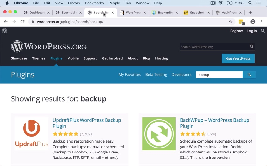 Finding Backup Plugins