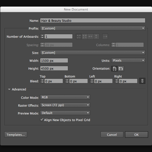 how to set up grid in illustrator