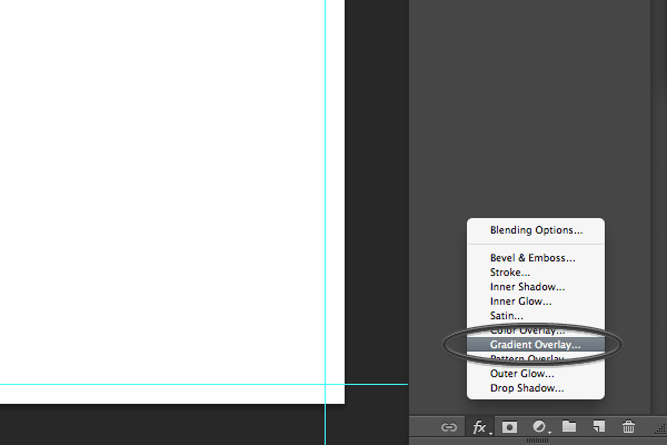gradient overlay in Photoshop menu