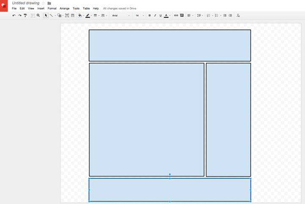 Plan mail design in Google Docs Drawing