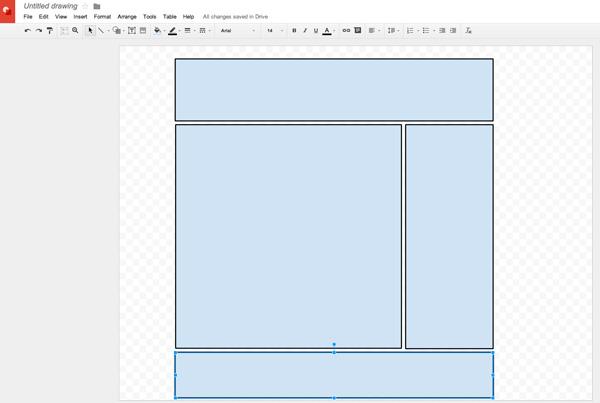 Plan mail design in Google Docs Drawing