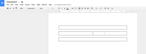 add columns in google docs