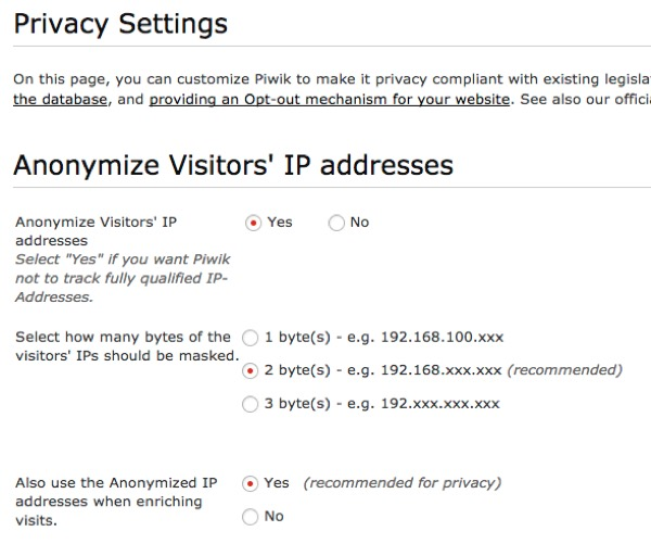 Piwik Anonymize IP Addresses