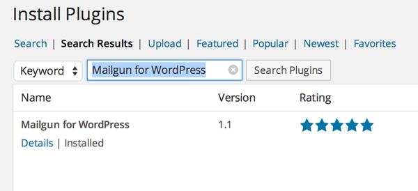 Search for Mailgun for WordPress in the Plugin directory