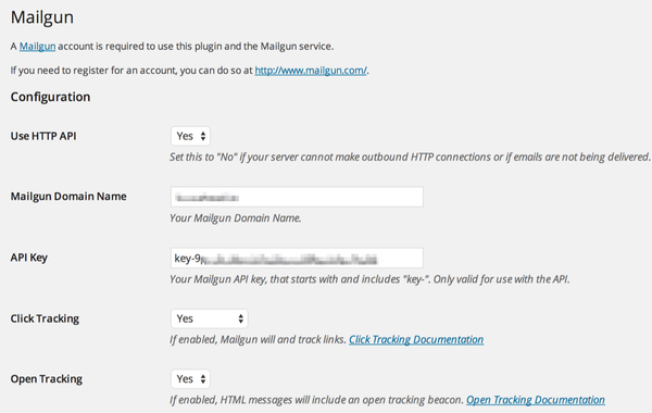 The Mailgun for WordPress Settings Page