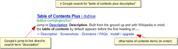 Example of structured search results in Google from Table of Contents Plus