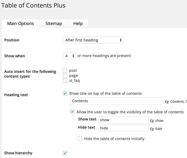 how to automatically add table of contents