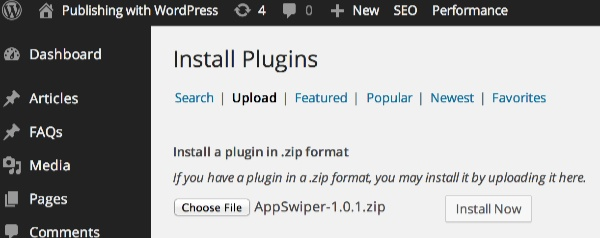 Install the AppSwiper plugin for touch
