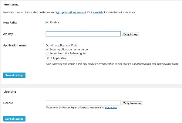 Enter your New Relic API and license key in W3TC settings