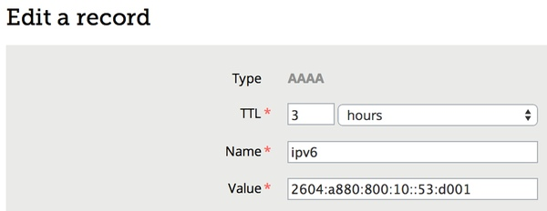 Create a AAAA DNS record for IPv6