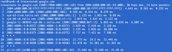 Traceroute to Google IPv6 Name Server