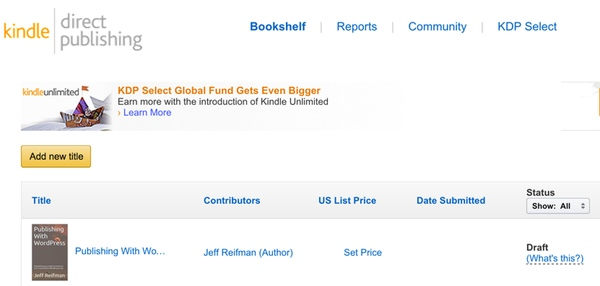 Kindle Direct Publishing Dashboard