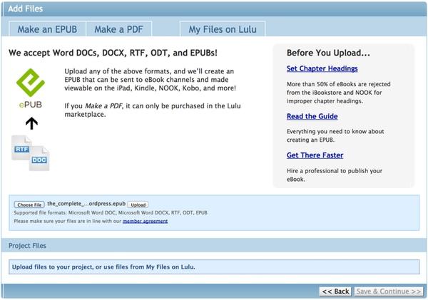 Upload Your ePub File to Lulu