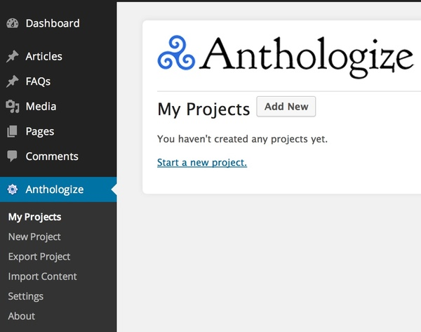 Anthologize Projects Dashboard