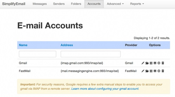 The Simplify Email Accounts Configuration Page