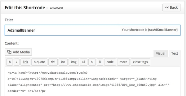 Editing my small banner ad shortcode in shortcoder