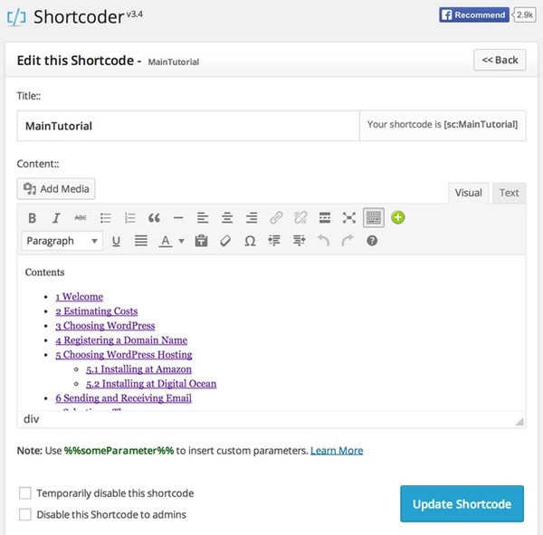 The Shortcoder editor - editing my Table of Contents shortcode