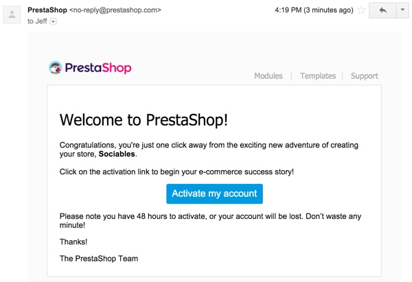 PrestaShop - Welcome Email