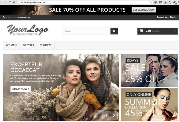 PrestaShop - Initial Store Front End Page