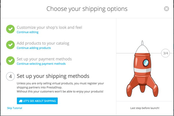 PrestaShop - Store Configuration Wizard - Set Up Your Shipping Methods