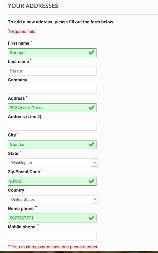 PrestaShop - Informations sur l'adresse de paiement