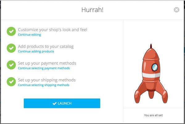 PrestaShop - Assistant de configuration de magasin - Succès rapide