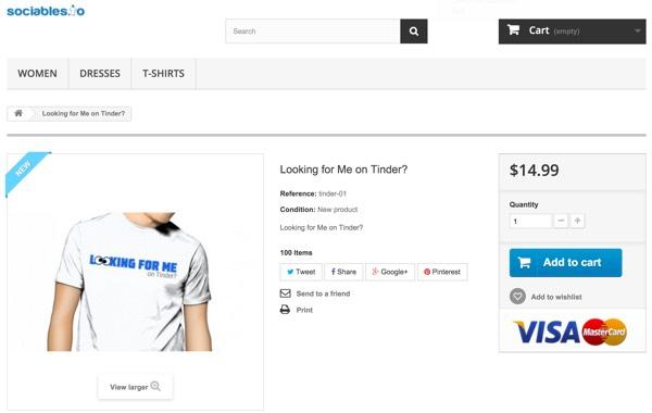 PrestaShop - La page de détail du t-shirt Sociables en magasin