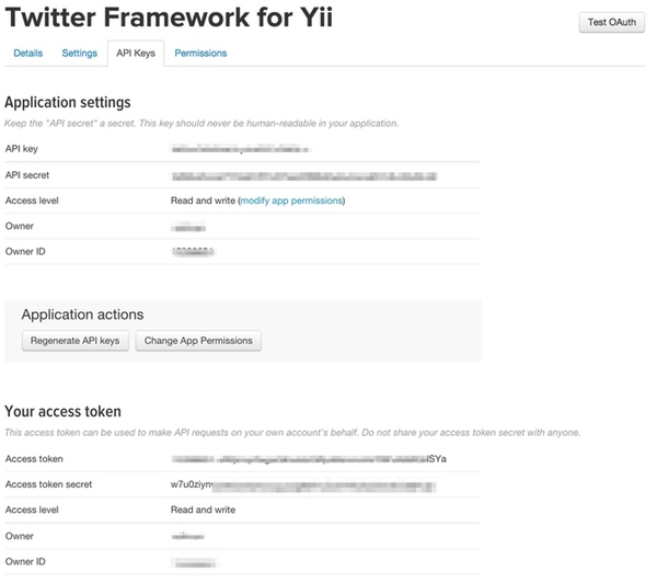 Twitter API Application Keys
