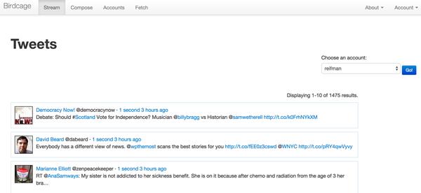 Birdcage statuses home_timeline via Twitter API