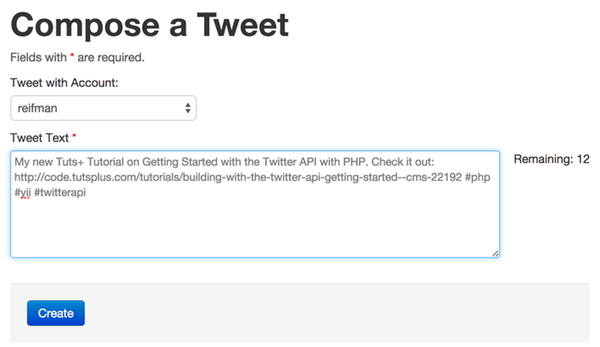 The Birdcage Compose a Tweet PHP Twitter API Example