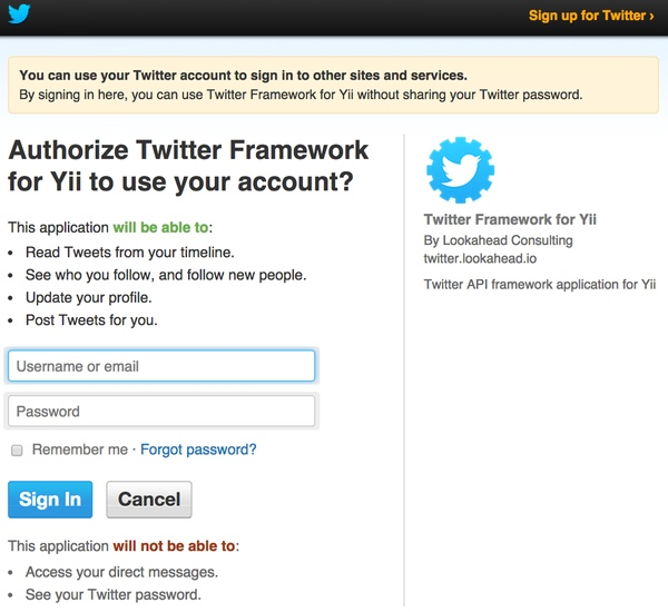 Twitter OAuth Challenge Screen