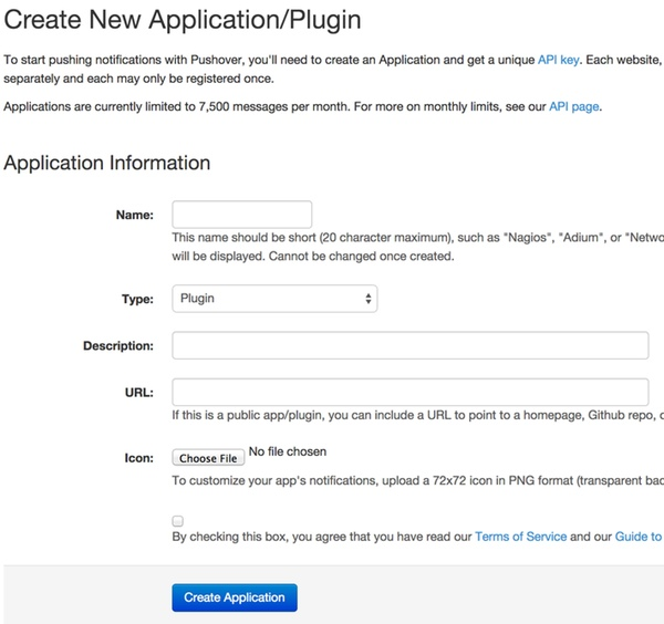Create a New Pushover Application