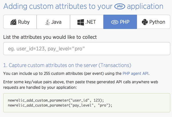 New Relic Insights Custom Attributes