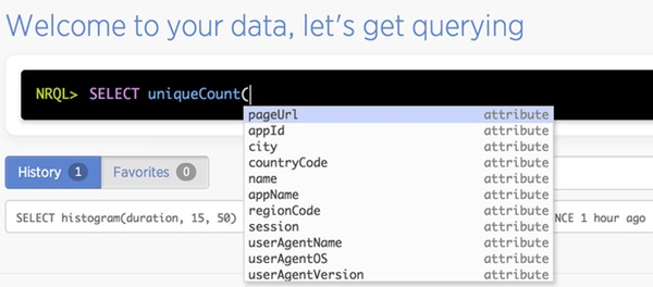 New Relic Insights NRQL autofill