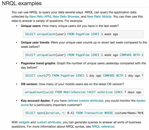 New Relic Insights NRQL Example Queries