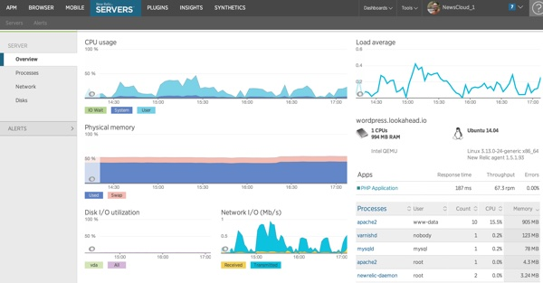 New Relic Servers Dashboard