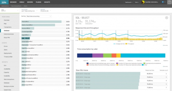 New Relic APM Database MySQL Query Tracking Detail View