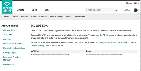 Get Your API Keys - Spreadshirt